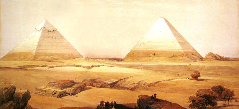 Giza Plateau - Cheops Pyramid, Chephren Pyramid and the Sphinx
