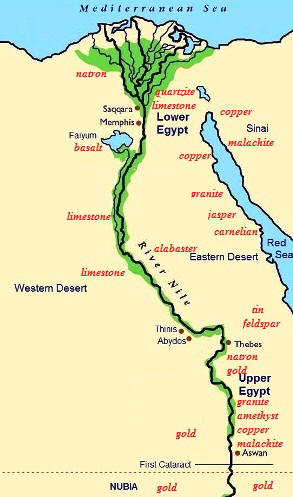 Natural Resources For Kids - Map of egypt's natural resources
