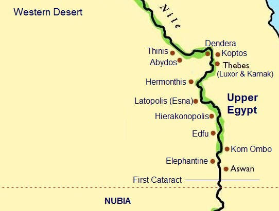 Upper Egypt - Map of egypt with major cities
