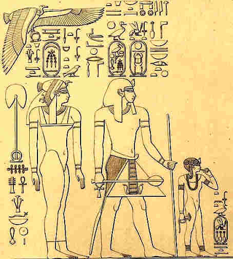 Queen Ahmose and Pharaoh Thutmose I with their eldest daughter Neferukheb