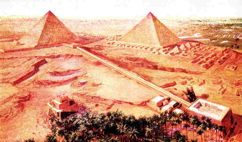 Picture showing restoration of the pyramid complex at Giza